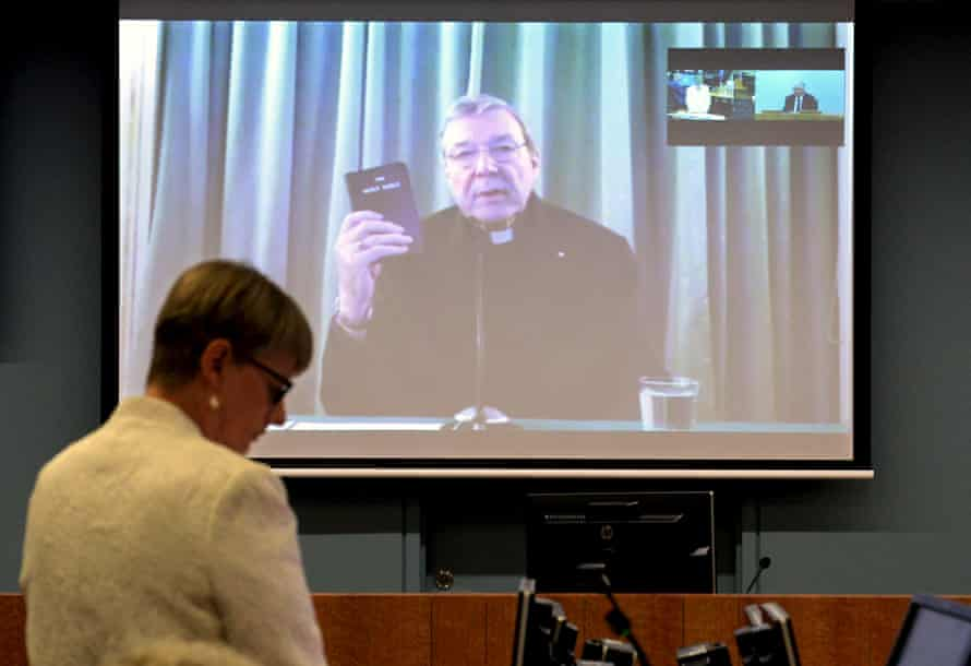 George Pell testifies by videolink from Rome to Australia's royal commission into child sexual abuse in Sydney in 2016