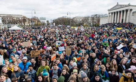 Thousands of people join a demonstration in Königsplatz, Munich, on 29 November 2019 for Global Climate Action Day