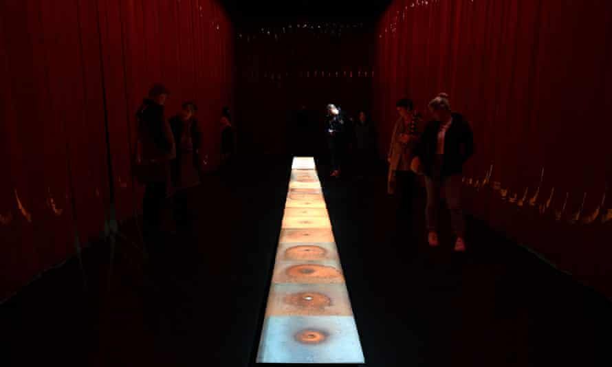 Blood is a major theme of the conceptual artist Teresa Margolles, as seen in this work exhibited in Sydney, Australia, in 2020.