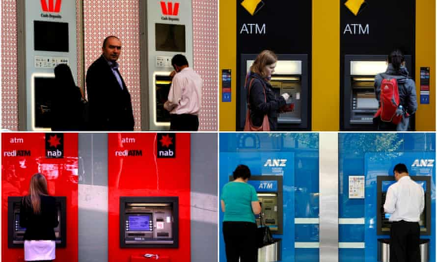 A combination of photographs shows people using ATMs at Australia's 'big four' banks, Westpac, Commonwealth, ANZ and NAB