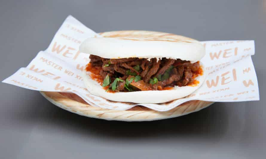 The spicy cumin beef 'burger', is a sort of loose-form patty in a flatbread-style bun.