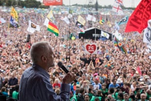 Jeremy Corbyn addresses the crowd on the Pyramid stage.