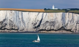 The White Cliffs with the South Foreland Lighthouse above.