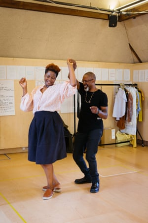Sarah Niles and Wil Johnson in rehearsals for Leave Taking at the Bush.