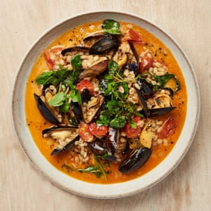 Yotam Ottolenghi's mussels and barley with caraway and watercress.