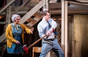 Noises Off, 2019 Meera Syal (Dotty Otley) and Daniel Rigby (Garry Lejeune) in a revival of Michael Frayn's play that transferred to the West End