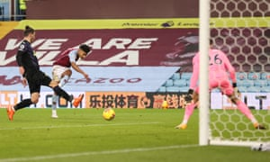 Aston Villa v Newcastle United - Premier LeagueBIRMINGHAM, ENGLAND - JANUARY 23: Ollie Watkins of Aston Villa shoots and scores a goal that is later disallowed for offside during the Premier League match between Aston Villa and Newcastle United at Villa Park on January 23, 2021 in Birmingham, England. Sporting stadiums around England remain under strict restrictions due to the Coronavirus Pandemic as Government social distancing laws prohibit fans inside venues resulting in games being played behind closed doors. (Photo by Clive Brunskill/Getty Images)
