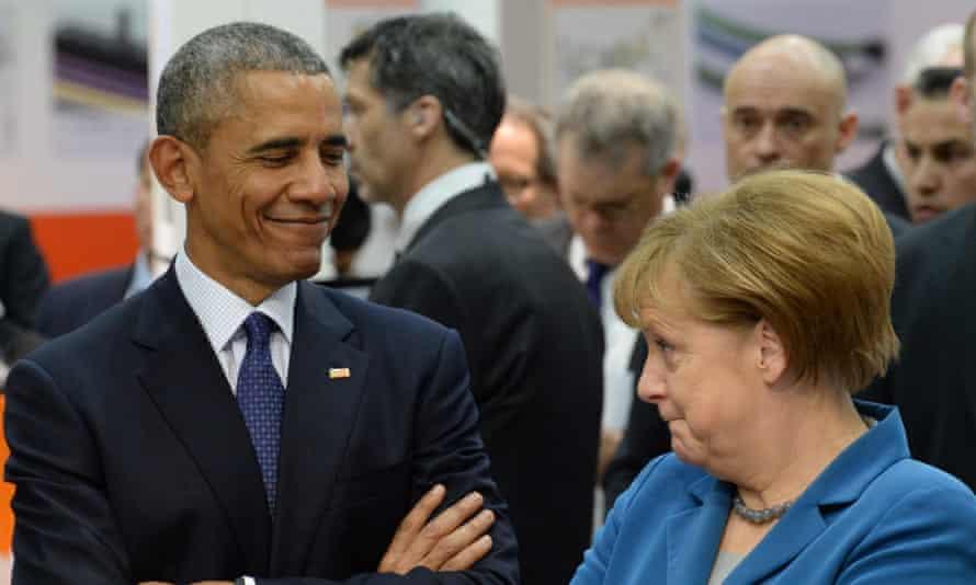 Angela Merkel with Barack Obama during his state visit to German.