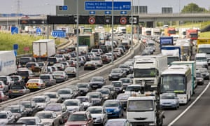 Traffic on M25 motorway, London