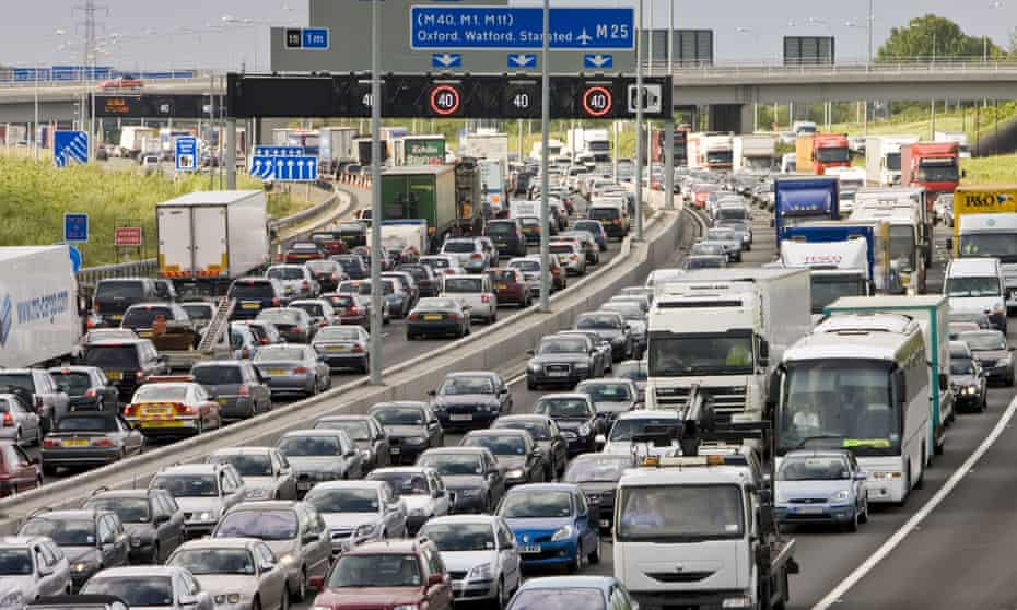 Traffic on M25 motorway, London