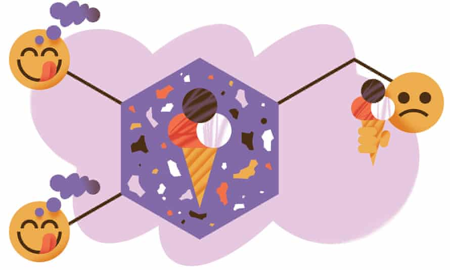 Illustration of ice-cream and three faces, two licking lips and one scowling