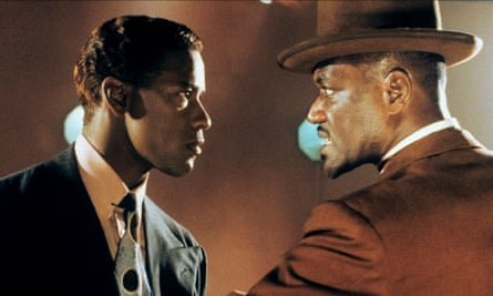 Denzel Washington (left) as Malcolm X with Delroy Lindo in Spike Lee's 1992 biopic.