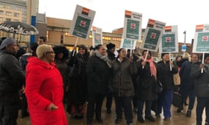 Cleaning staff organised by the GMB union protesting for better pay and conditions at Lewisham Hospital in November 2019.