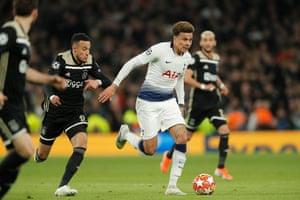 Tottenham's Dele Alli surges forward.