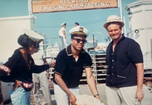 Diana Ross, Berry Gordy and Barney Ales prepare to set sail on a yacht from Miami, circa 1966. Courtesy Barney Ales