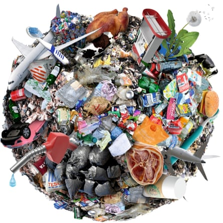 Climate change illustration of rubbish and meat and vehicles
