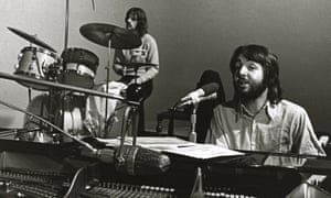 Ringo Starr and Paul McCartney in the studio.