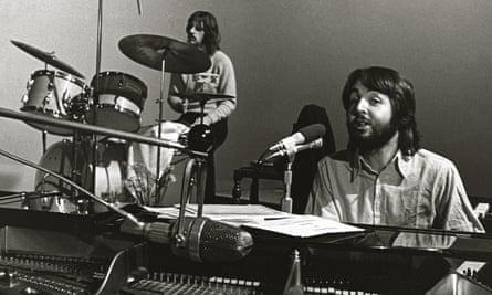 Ringo Starr and Paul McCartney in the studio.