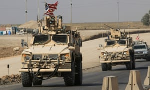 A convoy of US vehicles near the Iraqi-Syrian border after troops' withdrawal from northern Syria