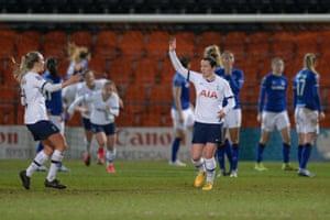 Emma Mitchell of Tottenham Hotspur celebrates scoring the equaliser.