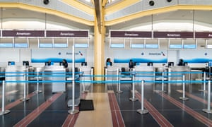 Empty airport check-in desks