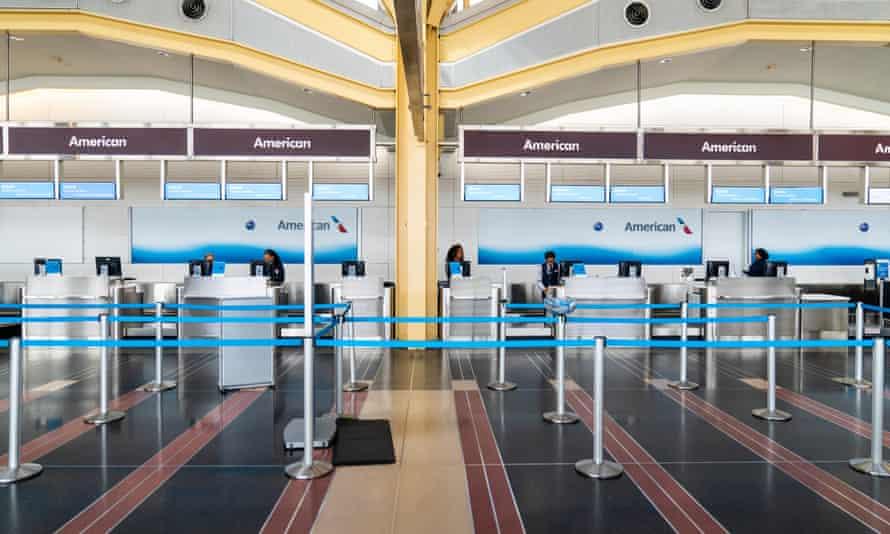 Empty airport check-in desks