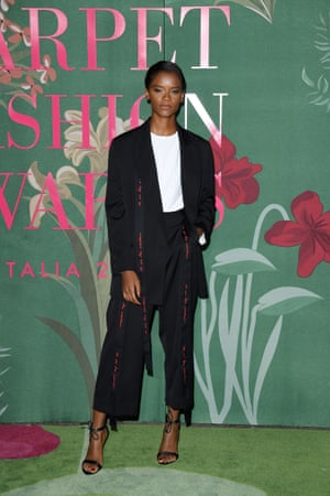 Letitia Wright in a Stela McCartney evening suit made from wool that is traceable back to the farm, lined with an organic cotton and sustainable viscose blend.