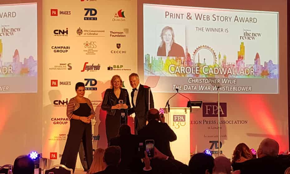 Carole Cadwalladr receives the Foreign Press Association award at the Sheraton hotel in London on Monday.