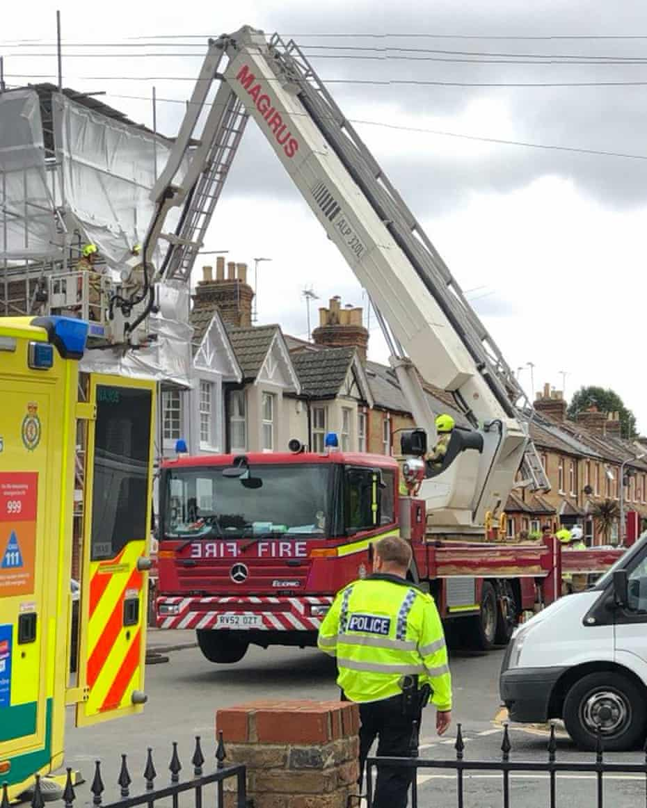 Emergency services at the property in Windsor after the upper storey collapsed.
