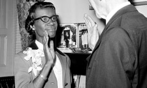 Democrat congresswoman Shirley Chisholm, of New York, takes her oath of office in Washington in January 1969.