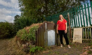 Liz Johnson in Leicestershire with her Anderson shelter.