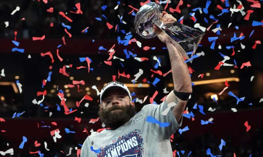Julian Edelman lifts the Vince Lombardi trophy after Super Bowl 53, when the wide receiver was named MVP.