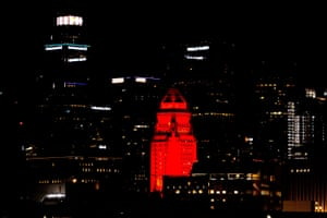 Los Angeles city hall lights up red to celebrate Nasa's successful landing on Mars.