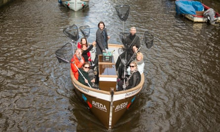 A Plastic Whale tour takes to the canals of Amsterdam.
