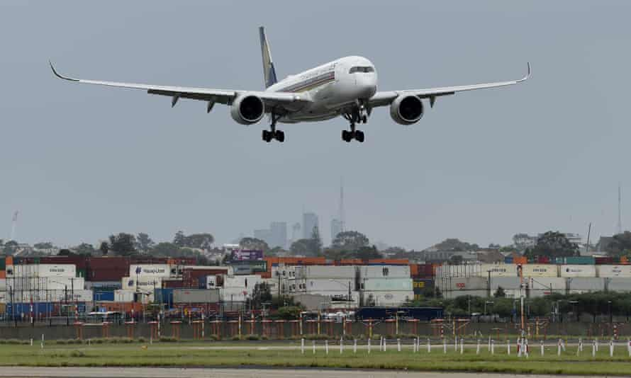 File photo of a flight arriving at Sydney airport