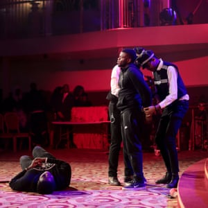Members of the youth church perform in a knife crime play during a Good Friday performance