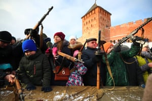 Veliky Novgorod, Russia: People gather to celebrate the 75th anniversary of the liberation of the city from Nazi occupation during the second world war
