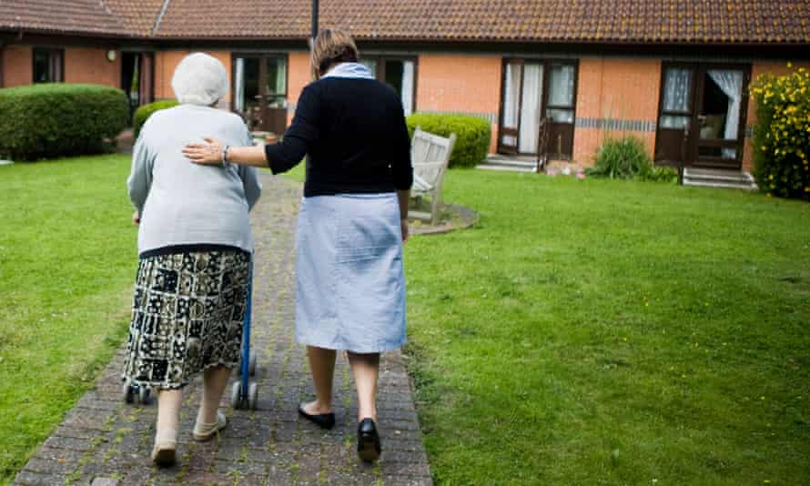 A care home resident and worker