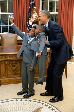 The president has a selfie with 11-year-old Jacob Haynes and 4-year-old James Haynes