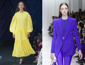 Pop colours The future's bright, the future's primary. For the louder at heart, bolder hues will offer an antidote to the baby pinks and blues of next season's pastel trend (left to right: Roksanda, Versace).
