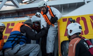 Refugees being transferred to the Moas Phoenix vessel earlier this month.