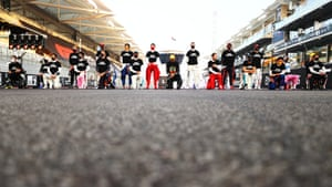 The F1 drivers stand and take a knee