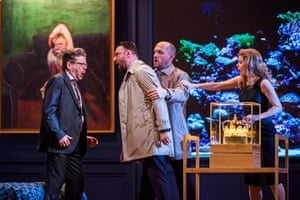 Peter Hoare (Mortimer), Gyula Orendt (Gaveston), Stéphane Degout (King) and Barbara Hannigan (Isabel) in Lessons In Love and Violence.