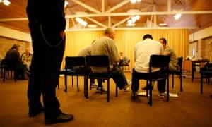 Prisoners taking part in a scheme to promote restorative justice