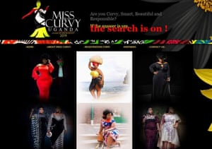 The homepage of the Miss Curvy Uganda 2019 website