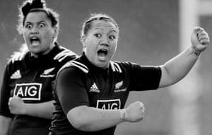 The Black Ferns do their Haka before the England Women v New Zealand Women international rugby union match at The Twickenham Stoop