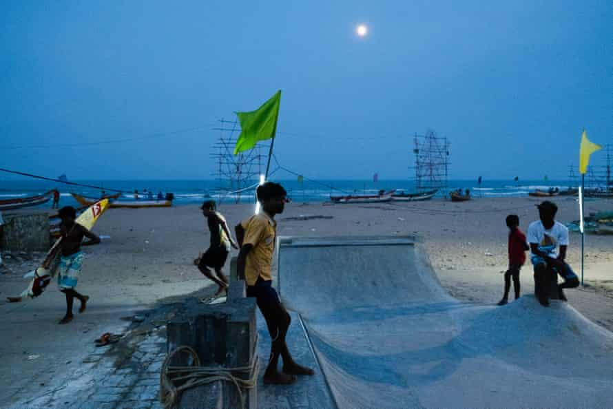 Bangalore-based skateboard collective Holy Stoked built a small skate park on the beach in Mahabalipuram.