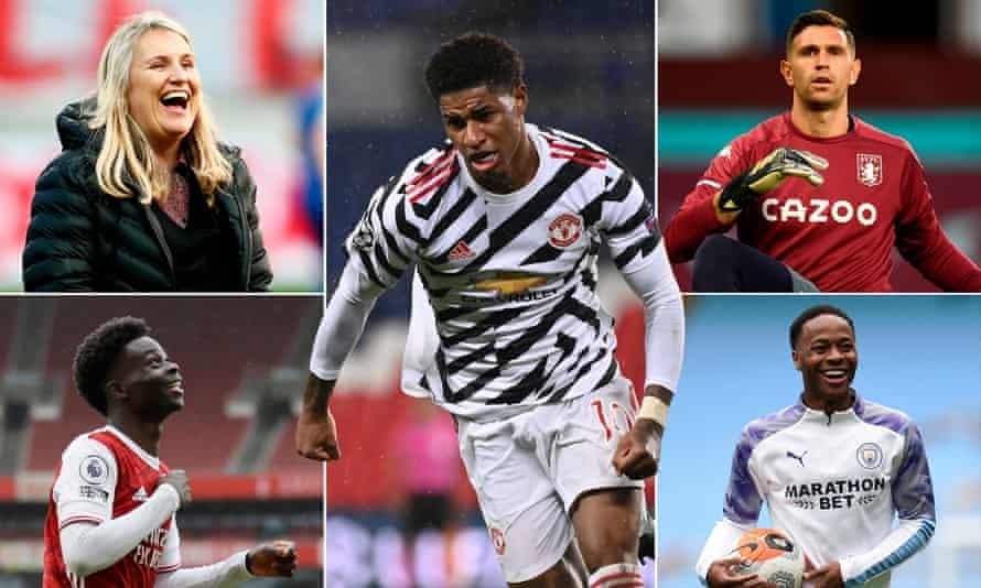 Clockwise from top left: Emma Hayes, Marcus Rashford, Emiliano Martínez, Raheem Sterling and Bukayo Saka.