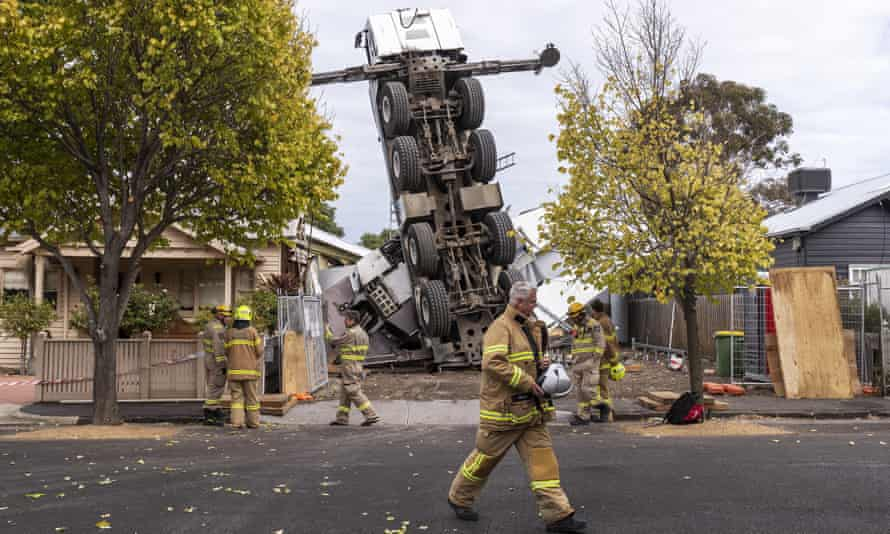 A crane collapsed on two houses in Yarraville, Melbourne