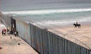 Boundary patrol … the US border wall seen from  Tijuana, Mexico.